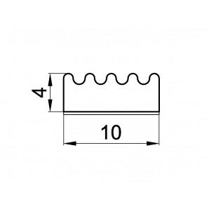Wymiary uszczelki profil E 4 x 10 mm