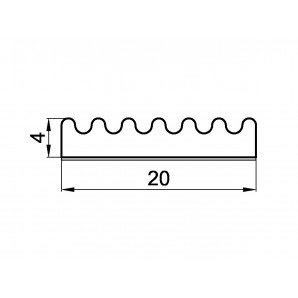 Schemat uszczelki profil E 4 x 20 mm