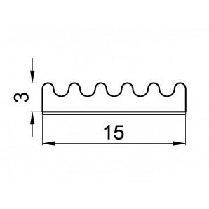 Uszczelka profil E 3 x 15 mm - wymiary