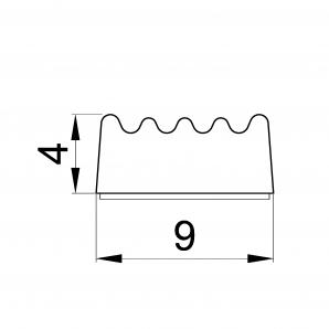 Wymiary uszczelki o profilu E 4 x 9 mm