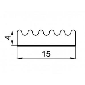 Uszczelka profil E 4 x 15 - wymiary
