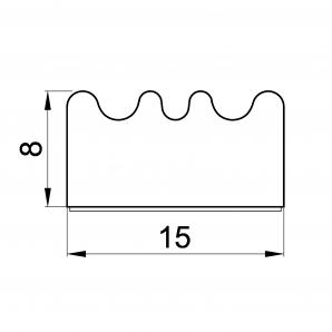 Uszczelka profil E 8 x 15 mm - wymiary