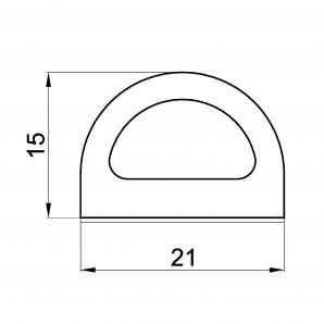 Uszczelka profil D 15x21 rzut