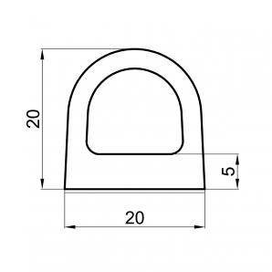 Uszczelka profil D 20x20 rzut