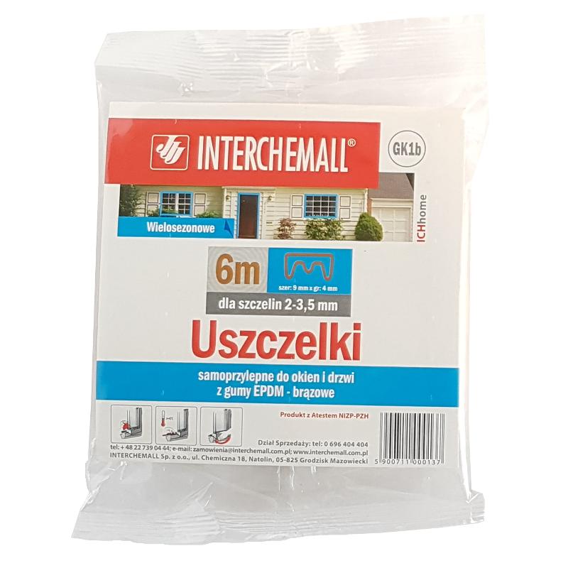 Uszczelka samoprzylepna do okien i drzwi profil E biała Interchemall