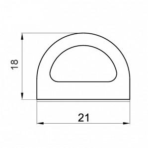 Uszczelka profil D 18x21 rzut